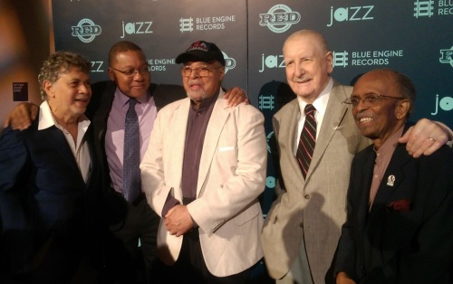 (L-R) Monty Alexander, Wynton Marsalis, Jimmy Cobb, Joe Temperley, Jimmy Heath